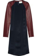 3.1 Phillip Lim Leather sleeved Silk Crepe De Chine Dress - Lyst