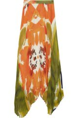 Alice + Olivia Pleated Printed Chiffon Skirt