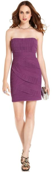 Bcbgmaxazria Strapless Belted Sequin Gown in Purple - Lyst