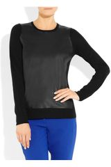 Dkny Merino Wool and Leather Sweater in Black - Lyst