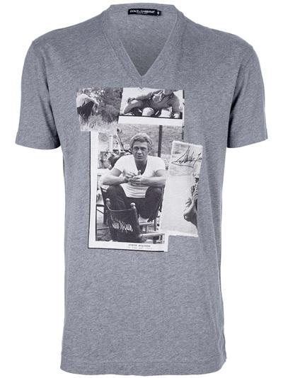 Dolce Amp Gabbana Steve Mcqueen Tshirt In Gray For Men Lyst