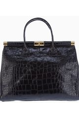 Giuseppe Zanotti Crocodile Embossed Leather Tote in Black - Lyst
