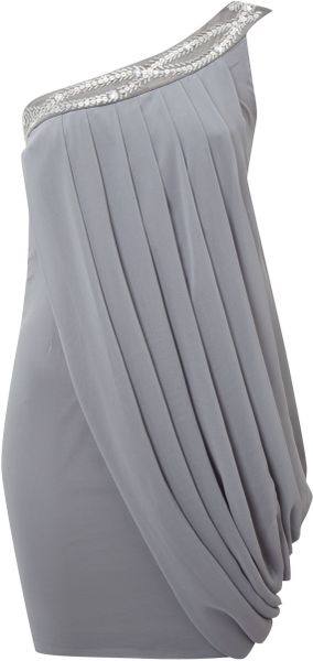 Sodamix Sodamix Drape Dress with Trim in Gray (grey) - Lyst
