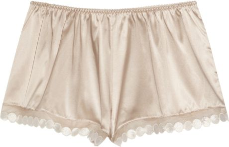 Stella Mccartney Fiona Popping Stretchsilk Satin Shorts in Beige (nude) - Lyst