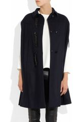 Valentino Leather toggled Wool felt Cape in Blue (navy) - Lyst
