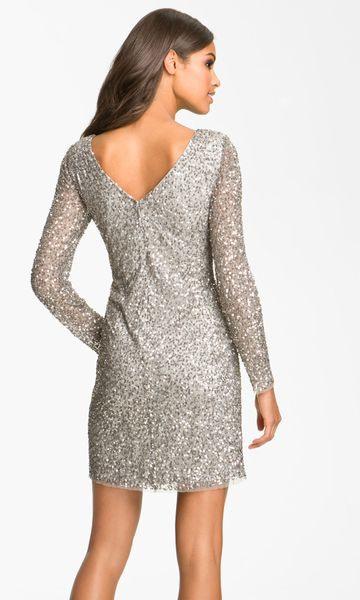 Adrianna Papell Sequin Shift Dress In Silver Lyst