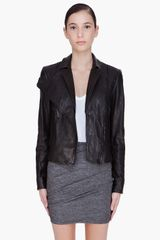 Alexander Wang Black Leather Double Zip Hybrid Jacket - Lyst