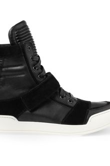 Balmain Leather and Suede High Top Sneakers - Lyst