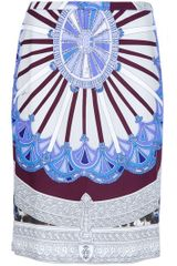 Emilio Pucci Silk Pencil Skirt in Blue - Lyst
