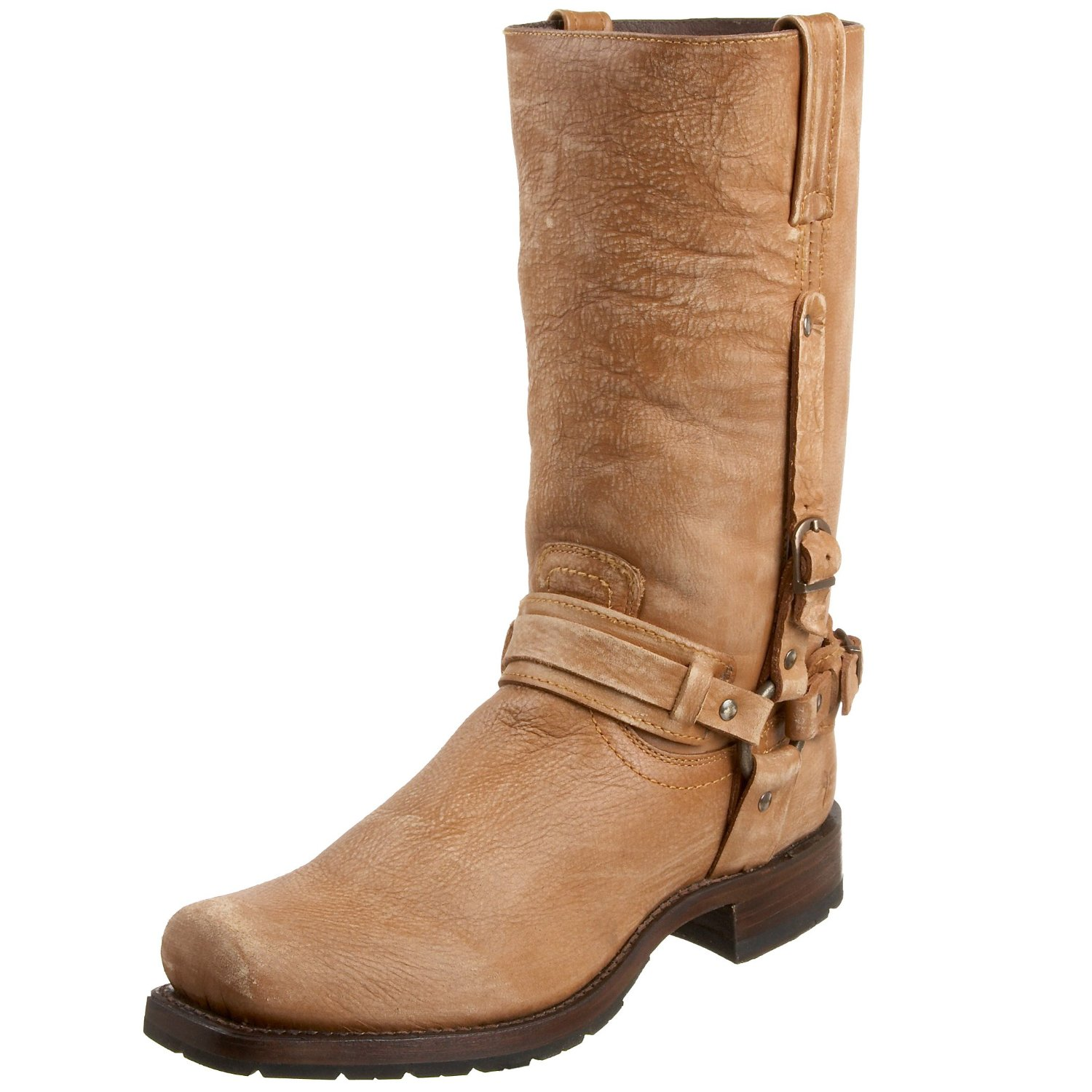 frye mens heath belted harness boot in brown for
