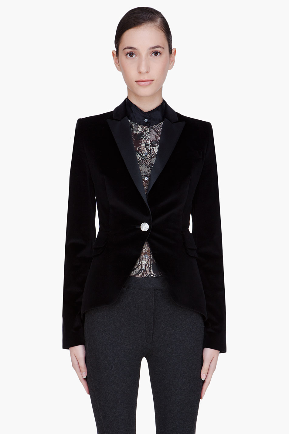 Mcq By Alexander Mcqueen Black Velvet Tuxedo Jacket In