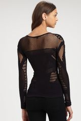 Mcq By Alexander Mcqueen Mesh Top in Black - Lyst