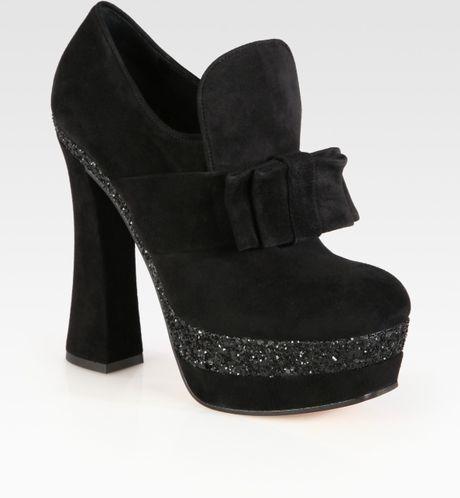 Miu Miu Glitter Coated Suede Bow Platform Booties in Black