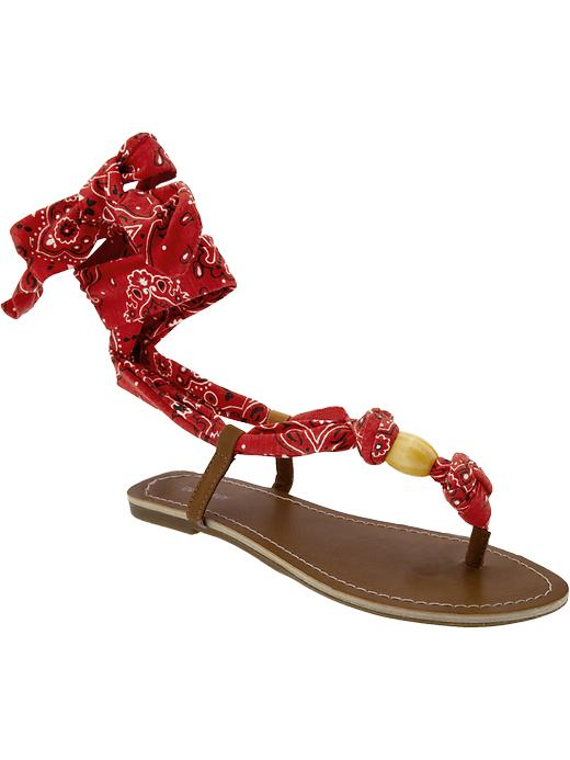 Old Navy Printed Scarftie Sandals In Red Red Bandana Lyst
