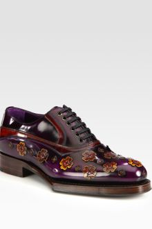Prada Leather Flower Loafers - Lyst