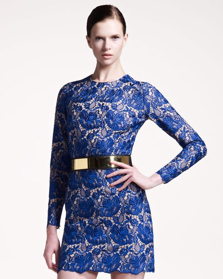 Stella Mccartney Guipure Lace Dress in Blue - Lyst