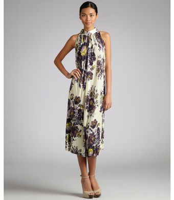 Suno Purple Floral Jersey Pleated Trapeze Dress - Lyst