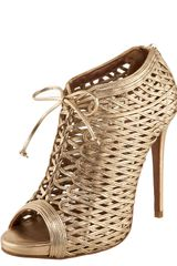 Tabitha Simmons Laceup Metallic Lattice Bootie - Lyst