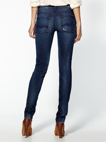 7 for all mankind roxanne skinny jeans in blue destroyed. Black Bedroom Furniture Sets. Home Design Ideas