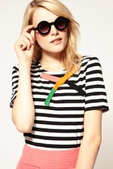 Asos Collection  Flat Round Sunglasses in Black - Lyst