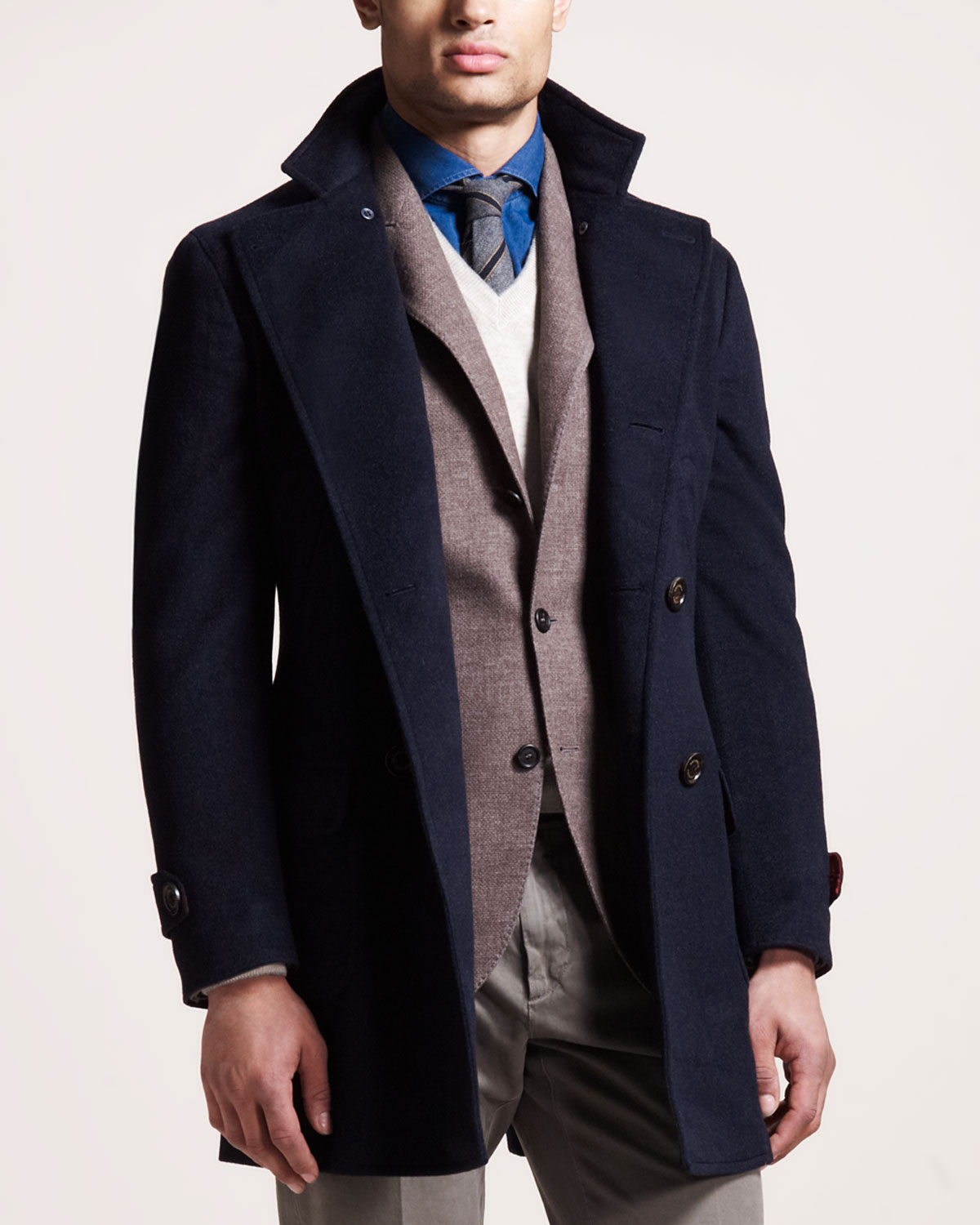 Brunello cucinelli Double-Breasted Cashmere Coat in Blue for Men ...