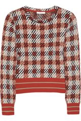 Chloé Checked Merino Wool and Cashmere Blend Sweater - Lyst