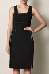 Christopher Kane Leather Trimmed Crepe Dress - Lyst