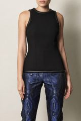 Christopher Kane Leather Trimmed Crepe Shell Top - Lyst