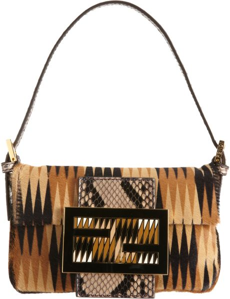 Fendi Ponyhair Baguette Bag in Brown (black) - Lyst
