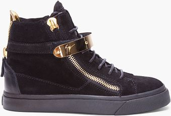 Giuseppe Zanotti Black August Gold Trim Sneakers - Lyst