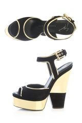 Giuseppe Zanotti Cutout Wedge Sandals in Gold (black) - Lyst