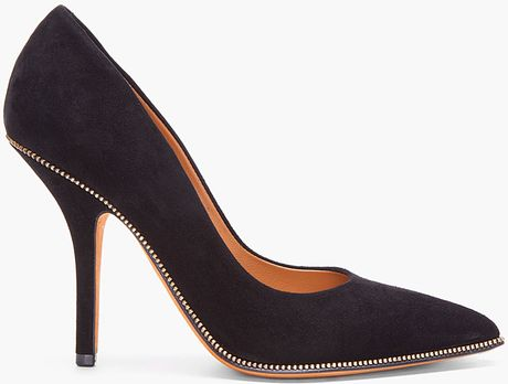 Givenchy Black Suede Zip Heels in Black - Lyst