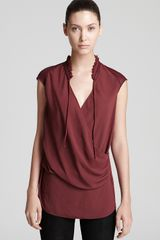 Helmut Lang Helmut Lang Blouse Soft Shroud Gathered Neck in Red (garnet) - Lyst