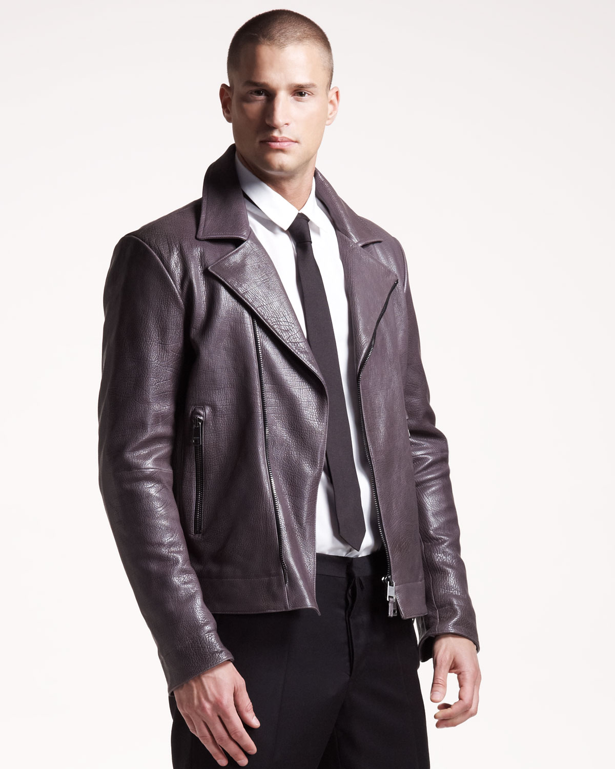 lyst jil sander leather motorcycle jacket in purple for men. Black Bedroom Furniture Sets. Home Design Ideas
