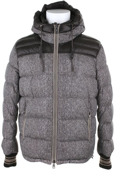 Moncler Down Jacket in Polyamide Fibers with A Tweed Digital Print in Blue for Men (navy) - Lyst