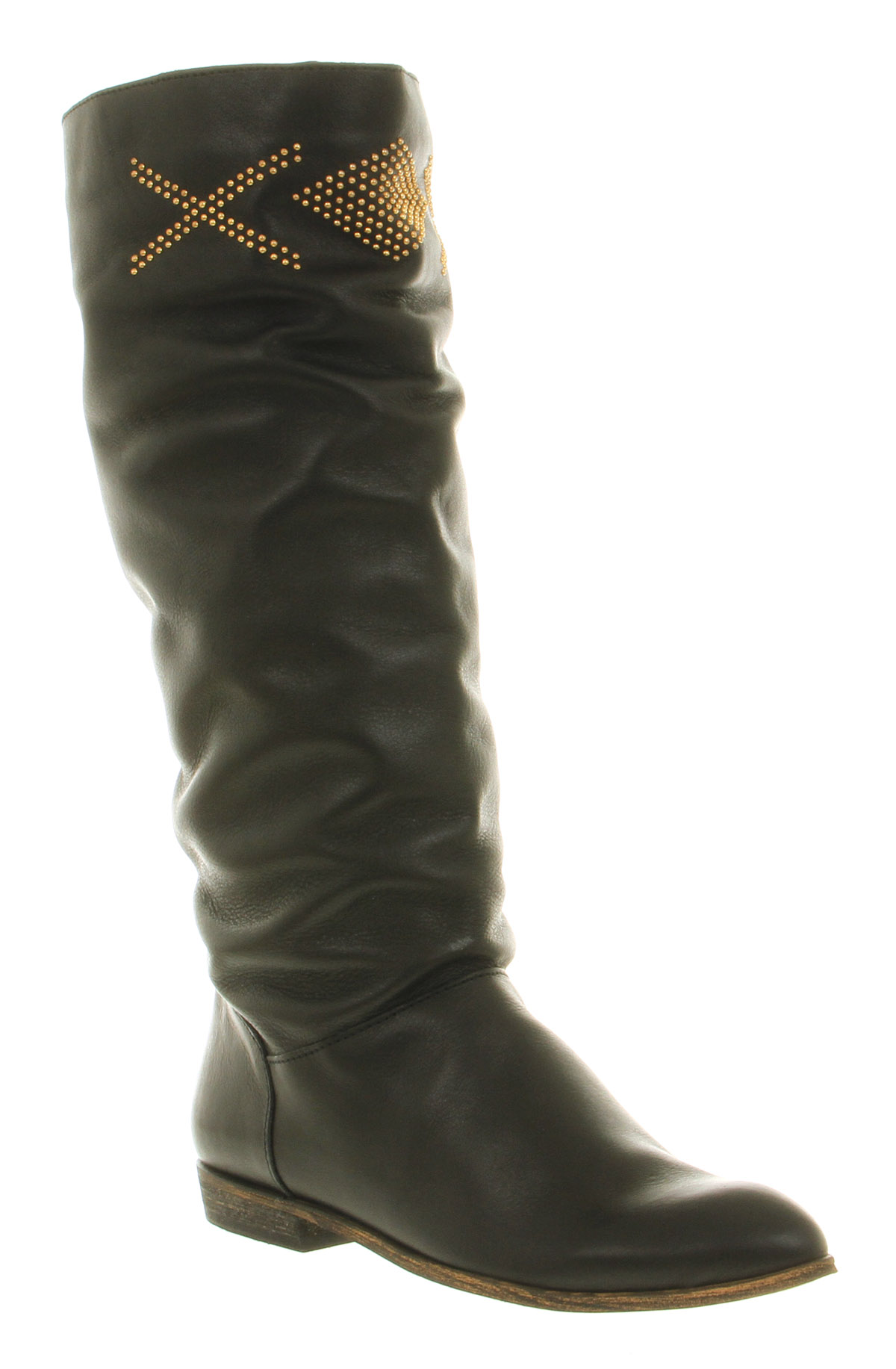 office galicia stud boot black leather gold studs in black