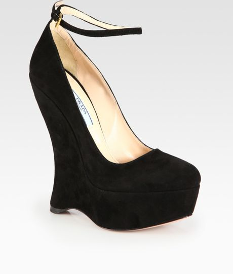 Prada Suede Ankle Strap Wedge Pumps in Black - Lyst