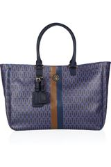 Tory Burch Roslyn Monogrammed Coated Canvas Tote - Lyst