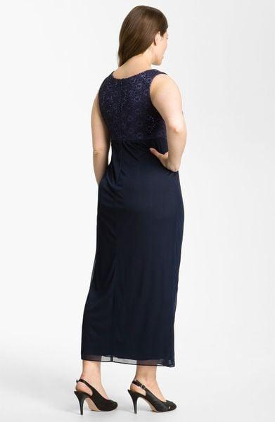 Alex Evenings Sequined Lace Faux Wrap Dress Bolero In Blue