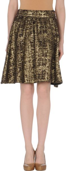 Alice + Olivia Knee Length Skirt in Brown