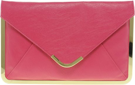 Asos Metal Frame Clutch Bag in Pink