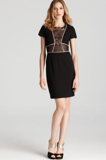 BCBGMAXAZRIA Sheath Dress Lace Inset - Lyst