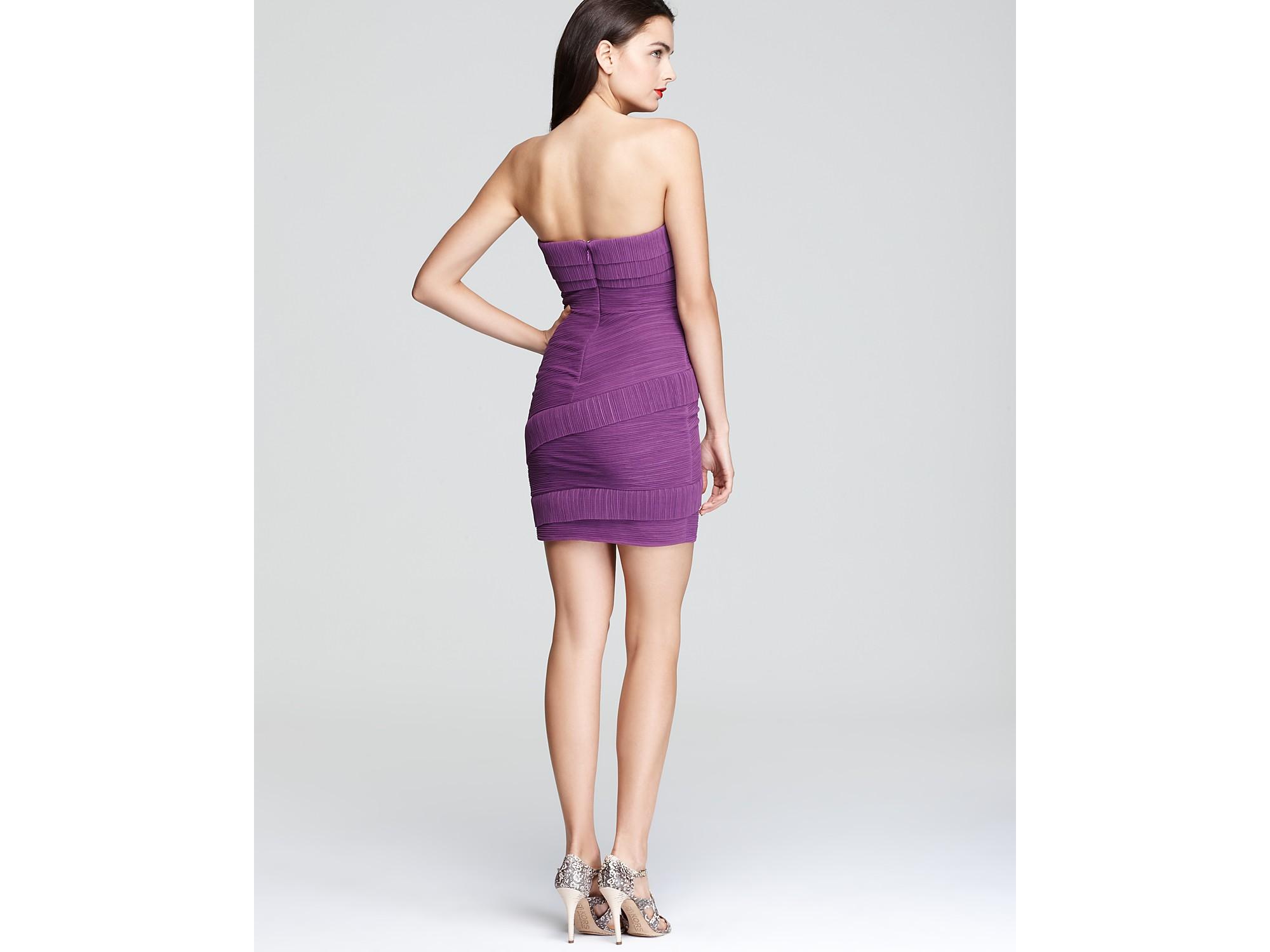 Bcbgmaxazria Strapless Dress Tiered Ruched in Purple | Lyst