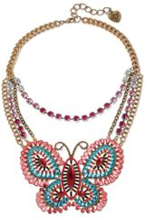 Betsey Johnson Gold Tone Multi Colored Butterfly Frontal Necklace - Lyst