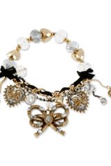 Betsey Johnson Gold Tone Rope Bow Charm Stretch Bracelet
