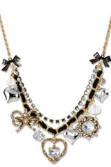 Betsey Johnson Gold Tone Rope Heart Multi Charm Frontal Necklace - Lyst