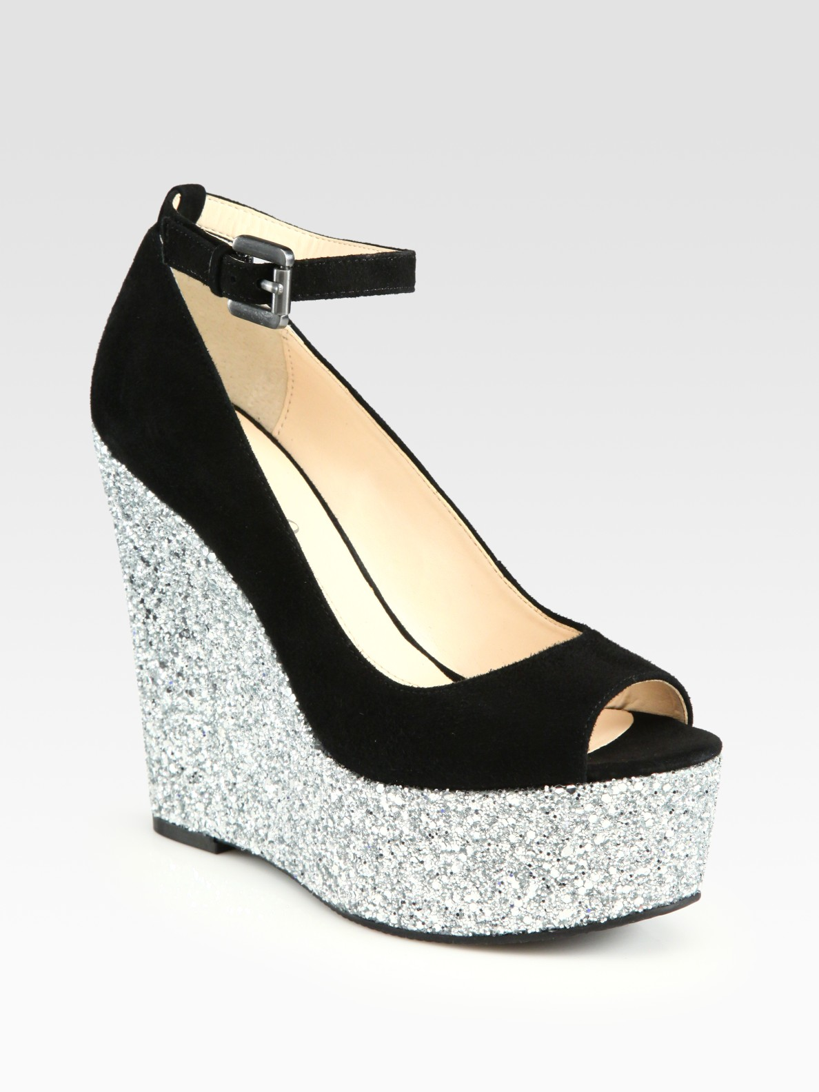 Boutique 9 Glitter And Suede Wedge Sandals In Black Lyst