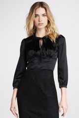 Burberry Tie-Neck Silk Blouse - Lyst