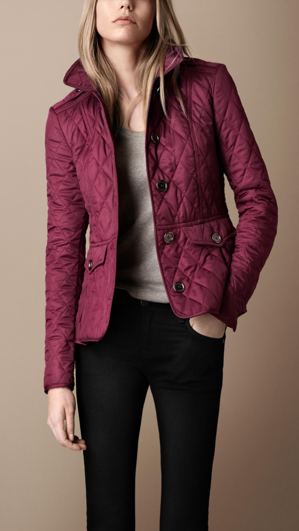 Burberry brit Fitted Quilted Jacket in Purple | Lyst : burberry purple quilted jacket - Adamdwight.com