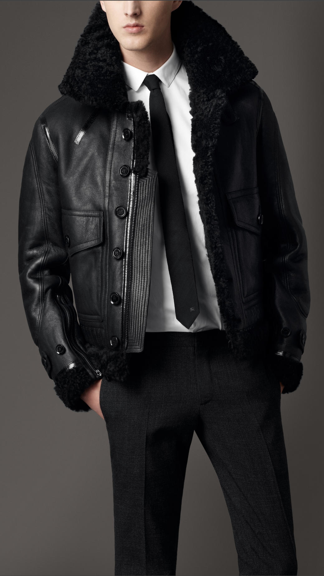 8c5a3e5aa71 Lyst Burberry Shearling Aviator Jacket In Black For Men